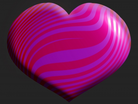 Intense pink heart with stripes over dark background photo