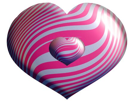 Silver and pink heart shape balloons over white background photo