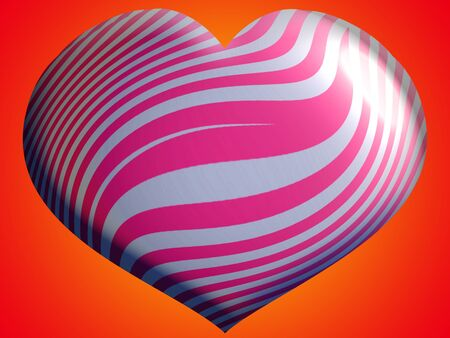 Pink and silver waves in heart balloon over orange photo