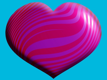 Pink love heart on turquoise background photo