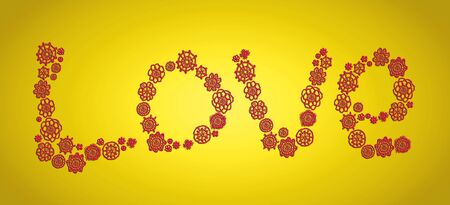 delicated: Love, crochet, concept, word, yellow and red Stock Photo