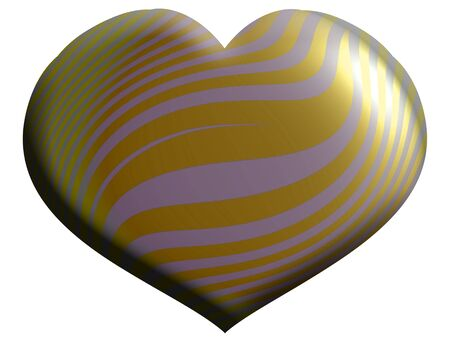 aniversaries: Striped heart balloon isolated on white Stock Photo