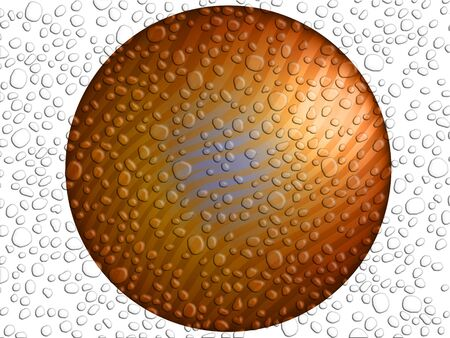 purification: Bronze button with drops Stock Photo