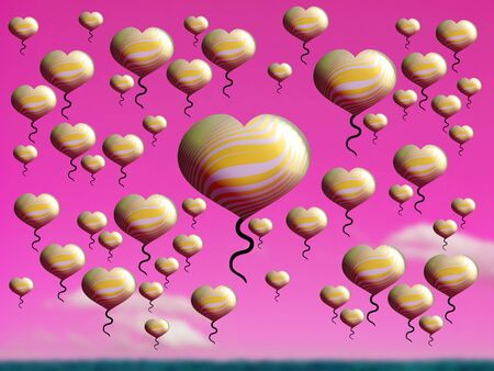 Yellow hearts flying over pink sky over green field Stock Photo - 15751316