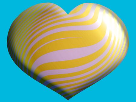 aniversaries: Yellow and white striped heart shape on blue Stock Photo