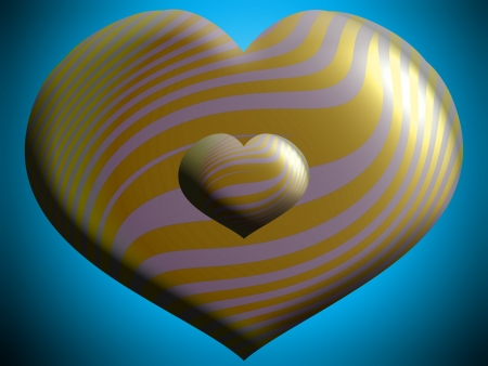 Two gold and silver hearts over blue photo