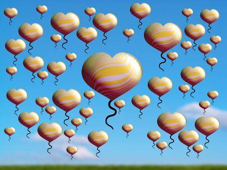 Plenitude, economy, save, light, balloons, flying, gold, field photo