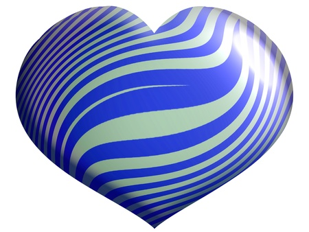 satin round: Blue and silver heart balloon isolated on white