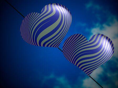 Romantic couple of blue heart balloons under sky photo
