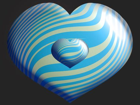 Turquoise striped hearts in dark background photo
