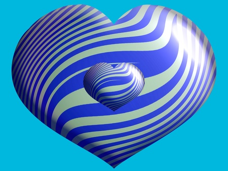 aniversaries: Blue striped hearts Stock Photo