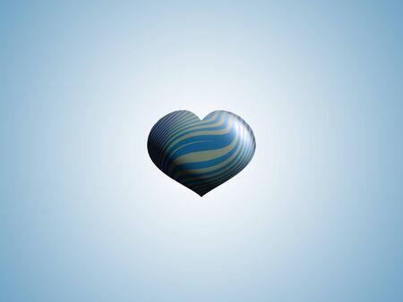 Little blue striped heart balloon over light blue background photo