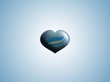 spermatozoid: Little blue striped heart balloon over light blue background Stock Photo