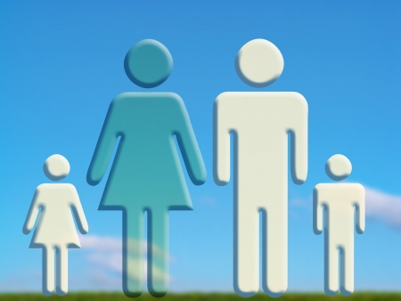 Family on field, mother absence Stock Photo - 15747773