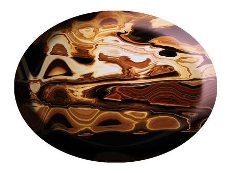 cabochon: Gem cabochon di forma ovale come pulsante isolato su bianco Archivio Fotografico