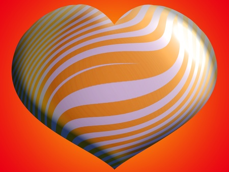 metalized: Heart striped metalized balloon over orange background