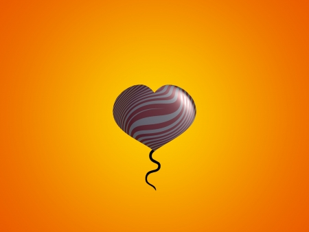 Heart balloon over brilliant orange background
