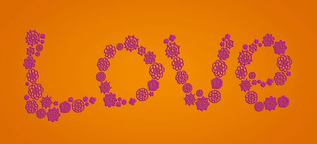 sofisticated: Love crochet word in pink over orange background