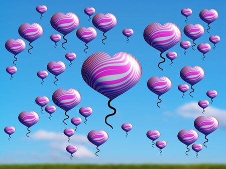 multiplying: Pink  heart balloons in group covering blue sky Stock Photo