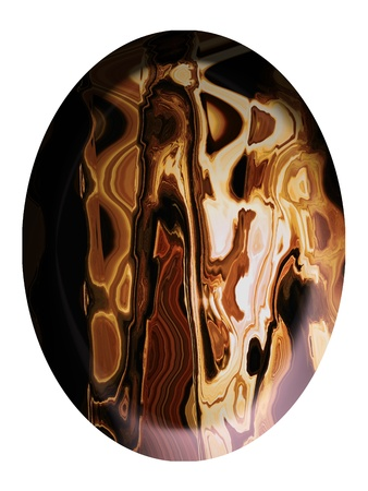 spherized: Brown striped stone cabochon oval isolated on white