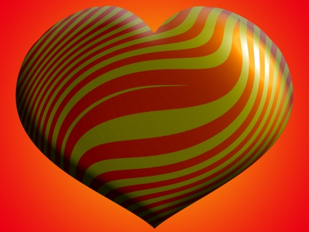 Big heart balloon in gold and orange photo