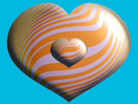 Two hearts with stripes photo