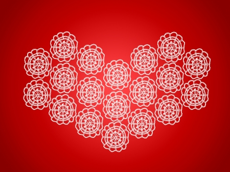 Christmas background of vintage heart in crochet in red and white Stock Photo - 16856624