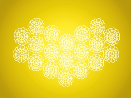 Bright yellow background with heart shape in crochet photo