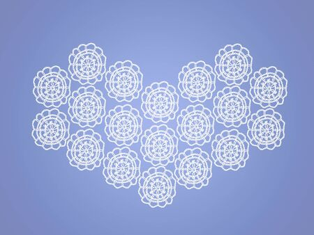 Crochet delicacy in a heart shape over lavender blue background photo