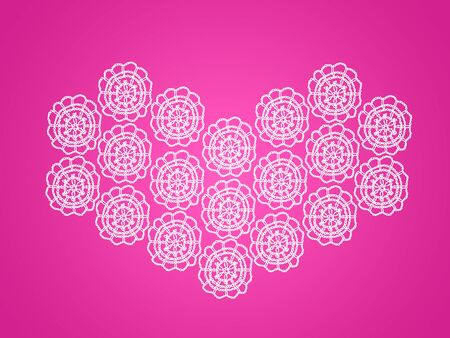 composing: Intense pink background with femenine crochet flowers composing a heart