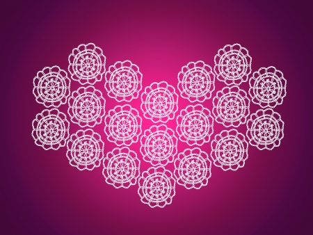 Purple pink background with white heart in crochet photo