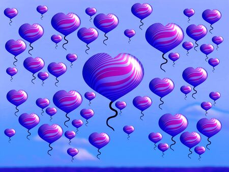 multiplying: Celebrating with heart balloons liberation over a field in pink and blue