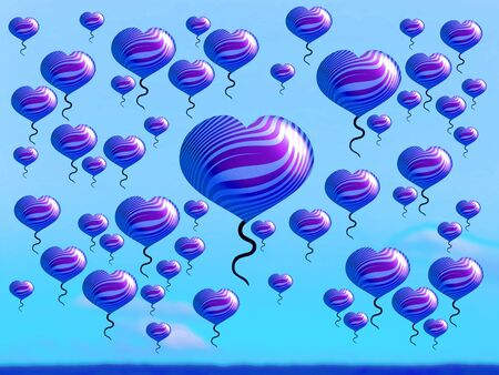 multiplying: Fantasy landscape with heart balloons covering the sky