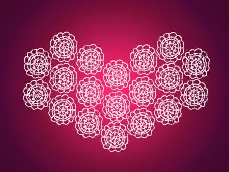 pinkish: Dark magenta pinkish background with a vintage crochet heart