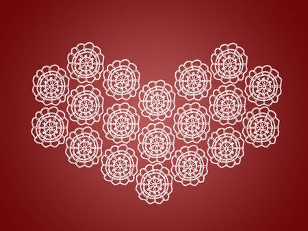 Romantic background with white heart of vintage crochet over dark sober red photo