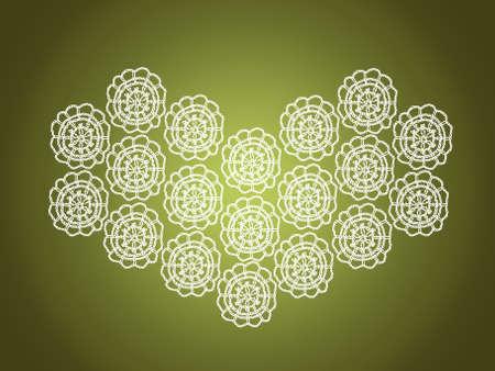 sobrio: Sober fondo verde con el coraz�n elegante crochet viejo en blanco