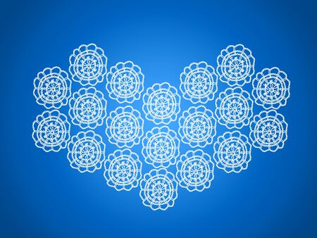 Brilliant blue background with white crochet heart