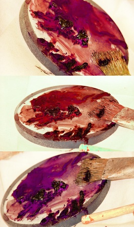 gamma tone: Warm red painting palettes of acrylic painting Stock Photo