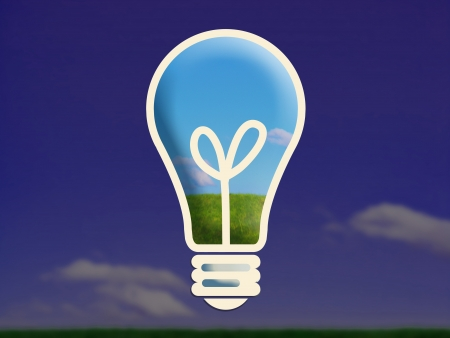 Day light and landscape in a bulb light over dark blue night country Stock Photo - 17073309