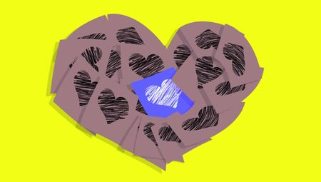 Sober post it notes heart in grey and blue with hearts over yellow photo