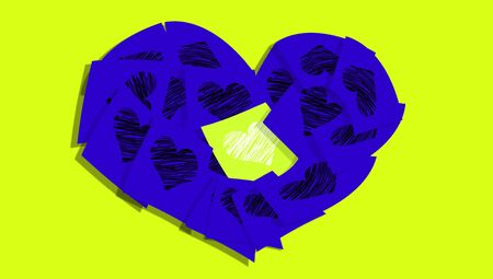 february 1: Luminous green note in an indigo purple heart of post it notes with hearts