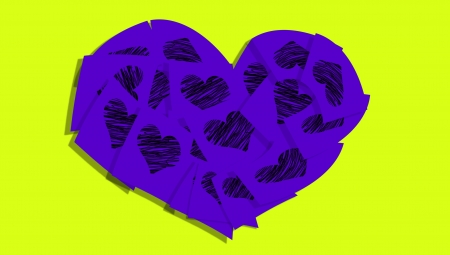 Purple heart of post notes with hearts over green photo