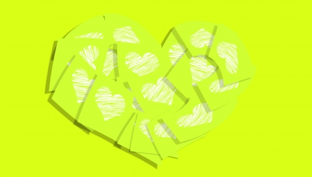 post it notes: Love messages for valentine salutation with green post it notes Stock Photo