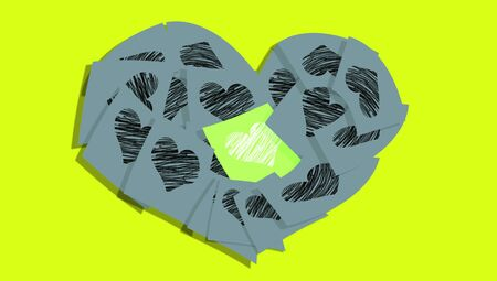 post it note: Green post it note with white heart in a grey heart of notes with black hearts Stock Photo