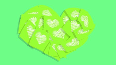 post it notes: Green background with post it notes with white hearts