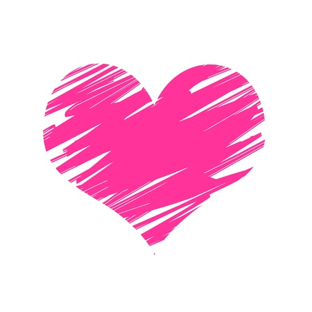 post it note: One white post it note with pink drawn heart Stock Photo