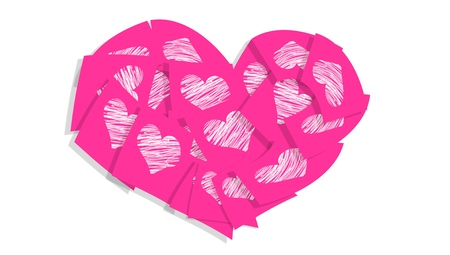 Valentine s pink heart with love messages in notes with hearts photo