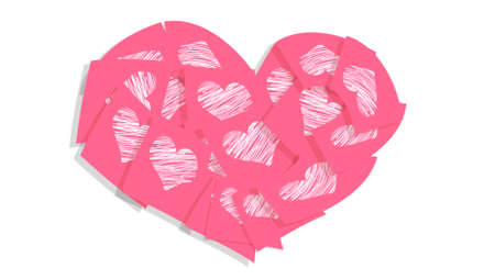 Soft pink heart of valentines love messages  photo