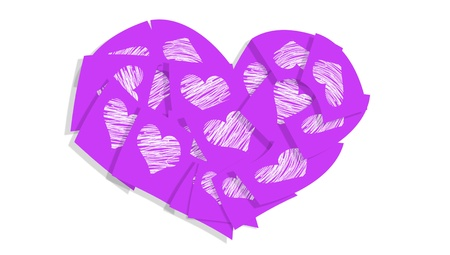 february 1: Violet post sticky notes heart with hearts isolated on white