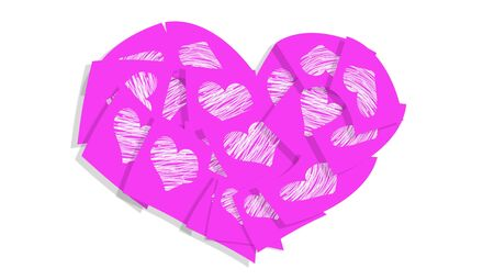 february 1: Pink heart of post it notes with hearts over white